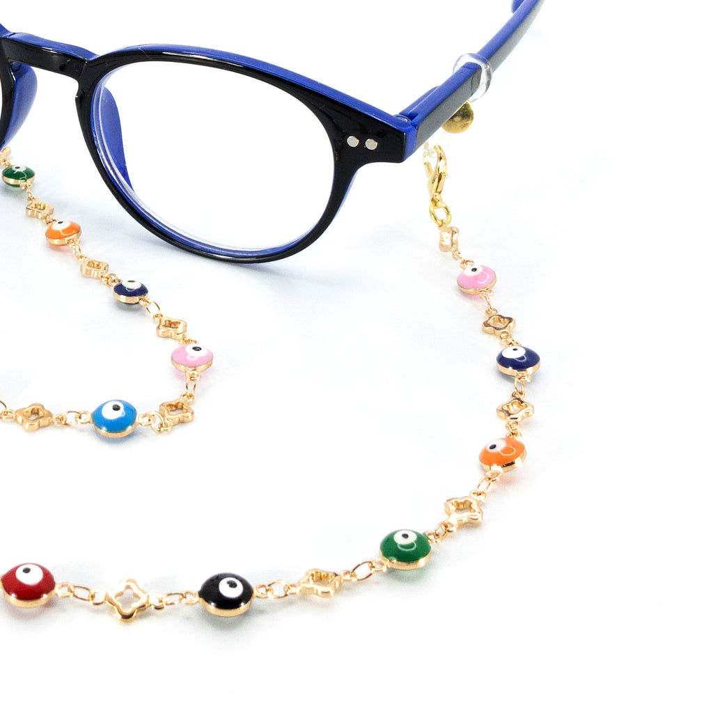 Rainbow Evil Eye Gold Plated Metallic Chain - Rainbow Notting Hill