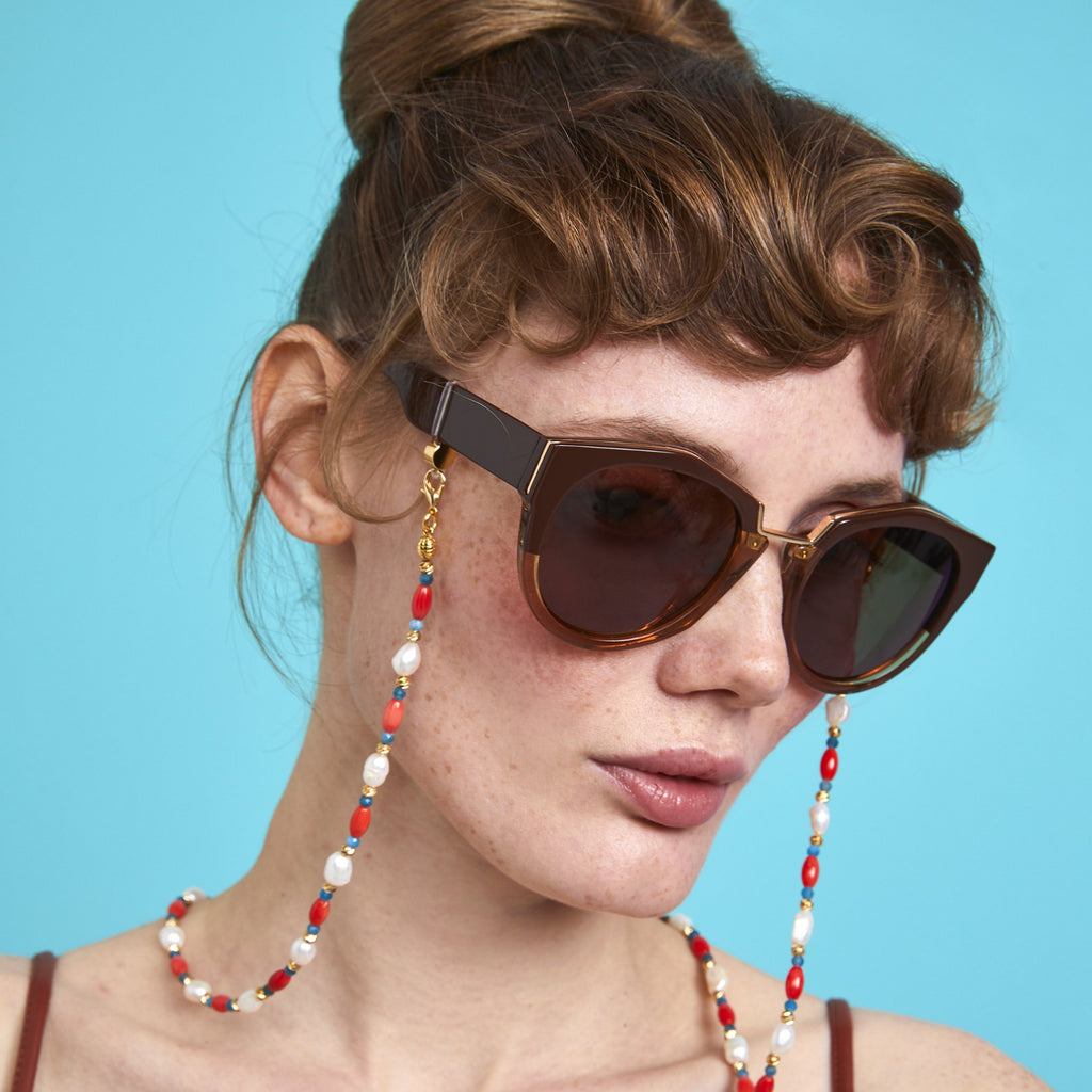 CORAL, PEARL & APATITE - Nottinghill, Sunglasses, Sun, Glasses, vintage, cat eye, women sunglasses, sunglasses, glasses, clear lens, accessory, necklace, fashion, style, trendy, cat eye, oversized, vintage, design, mirrored lens