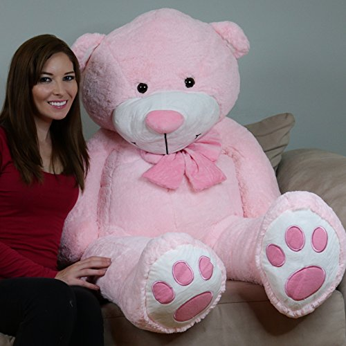 Yesbears 5 Foot Giant Teddy Bear Plush Pink ( Microfiber Bowtie )