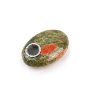 Natural Unakite Palm Stone Pipe