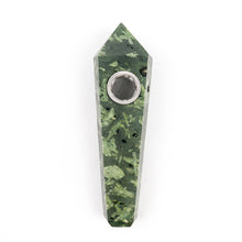 Natural Green Chrysanthemum Point Crystal Pipe