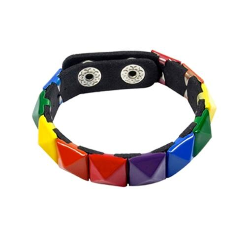 Gay Pride Rainbow Stud Bracelet (1 Row)