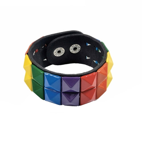 Gay Pride Rainbow Stud Bracelet (2 Row)