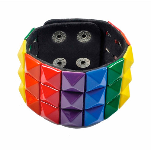 Gay Pride Rainbow Stud Bracelet (3 Rows)