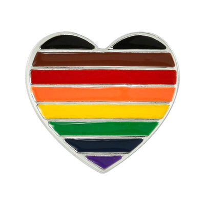8 Colour Gay Pride Rainbow Flag Silver Plated Heart Pin Badge