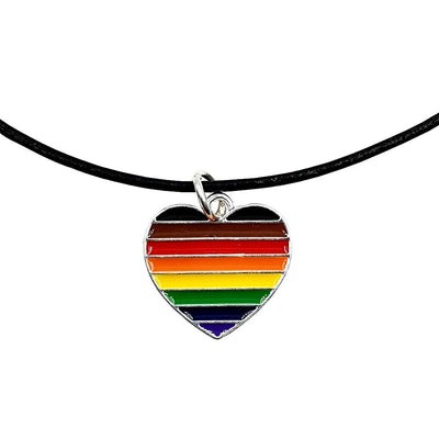 8 Colour Pride Rainbow Flag Silver Plated Heart Charm Necklace