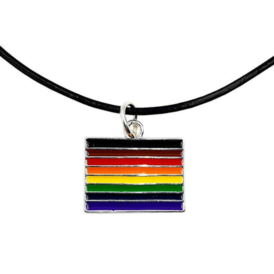 8 Colour Gay Pride Rainbow Flag Silver Plated Rectangle Charm Necklace