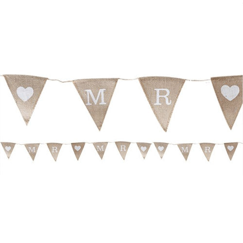 A Vintage Affair Hessian Mr & Mr Wedding Bunting 1.5m