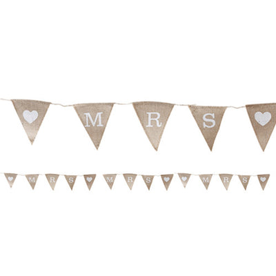 Mrs & Mrs Hessian Wedding Bunting 1.5m