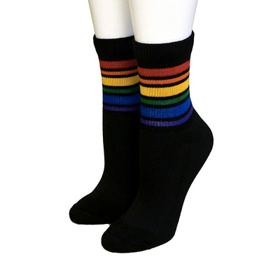 Pride Socks - Brave Rainbow Athletic Socks Black