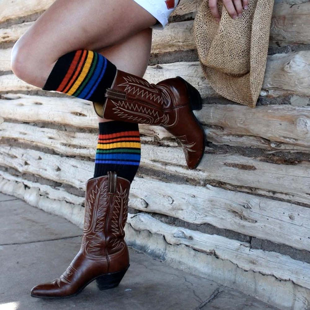 Pride Socks - Brave Rainbow Knee High Tube Socks Black