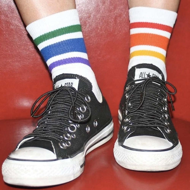 Pride Socks - Courage Rainbow Athletic Socks White