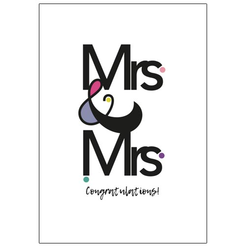 Mrs & Mrs Congratulations - Lesbian Wedding Card