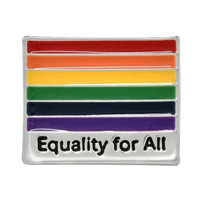 Gay Pride Rainbow Flag Silver Plated Pin Badge (Equality For All)