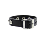Black Leather Stud Bracelet With Buckle - 1 Row