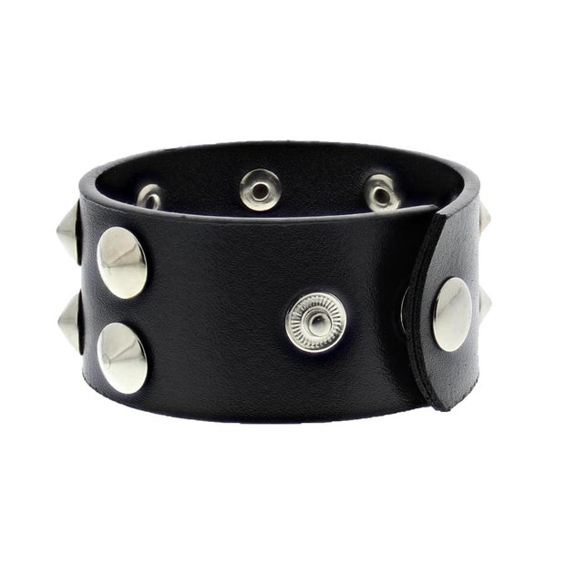 Black Leather Stud Bracelet - 2 Rows