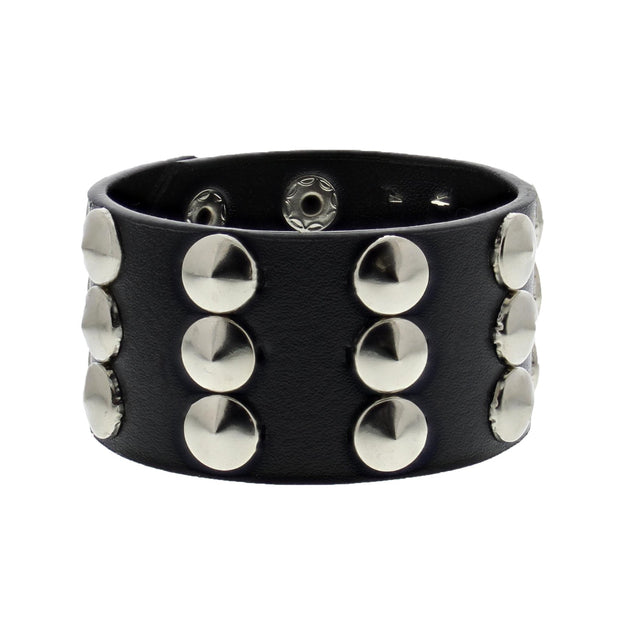 Black Leather Stud Bracelet - 3 Rows