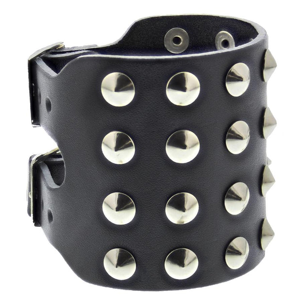 Black Leather Stud Bracelet With Buckles - 4 Rows