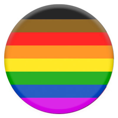 8 Colour Gay Pride Rainbow Flag (POC Brown & Black Stripes) Small Pin Badge