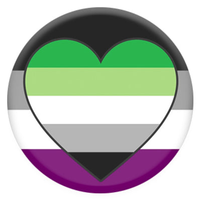 Asexual Flag With Aromantic Heart Small Pin Badge