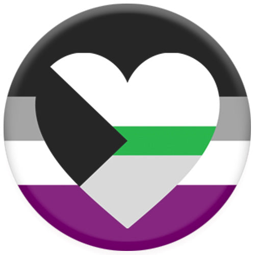 Asexual Flag With Demiromantic Heart Small Pin Badge