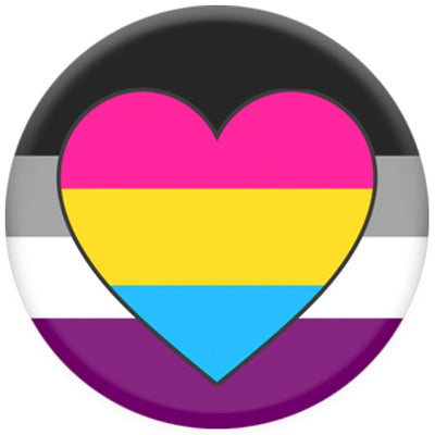 Asexual Flag With Pansexual Heart Small Pin Badge