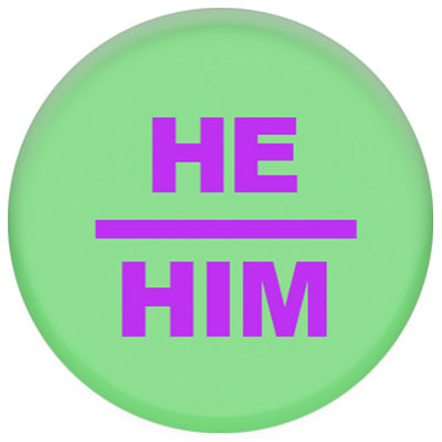 Pronoun He/Him Small Pin Badge (Green/Purple)
