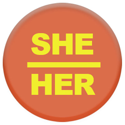 Pronoun She/Her Small Pin Badge (Orange/Yellow)