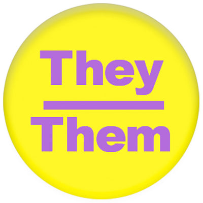 Pronoun They/Them Small Pin Badge (Yellow/Purple)