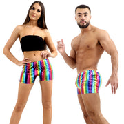 Gay Pride Rainbow Metallic Hot Pants