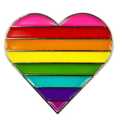1978 Original Gay Pride Rainbow Flag Silver Metal Heart Lapel Pin Badge