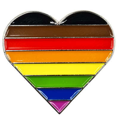 8 Colour Pride Rainbow Flag Silver Metal Heart Lapel Pin Badge