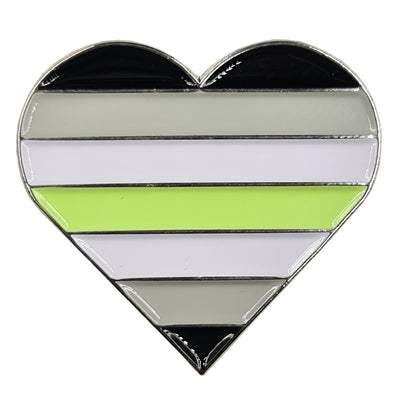 Agender Flag Silver Metal Heart Lapel Pin Badge