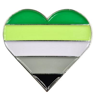 Aromantic Flag Silver Metal Heart Lapel Pin Badge