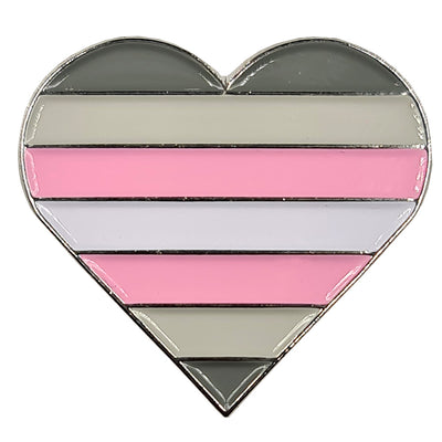 Demigirl Flag Silver Metal Heart Lapel Pin Badge