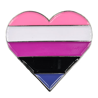 Genderfluid Flag Silver Metal Heart Lapel Pin Badge