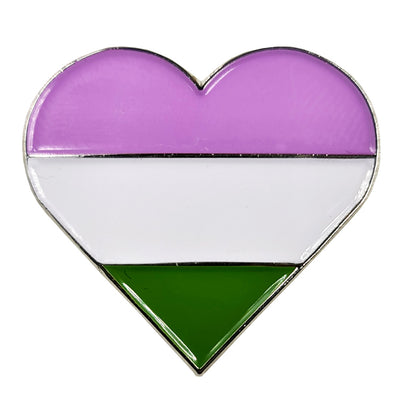 Genderqueer Flag Silver Metal Heart Lapel Pin Badge