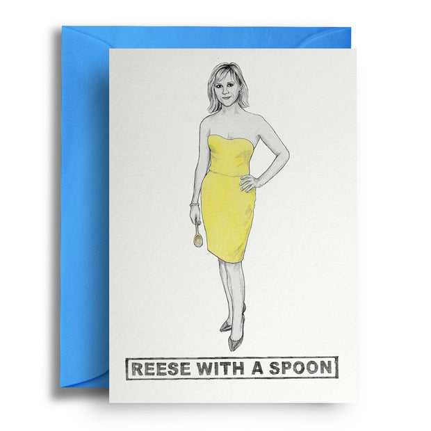 Reese With A Spoon - Greetings Card