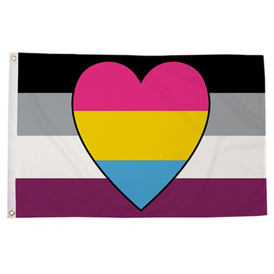 Asexual with Pansexual Heart (Panromantic Asexual) Flag (5ft x 3ft Premium)