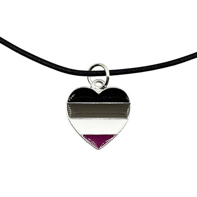 Asexual Flag Silver Plated Heart Charm Necklace