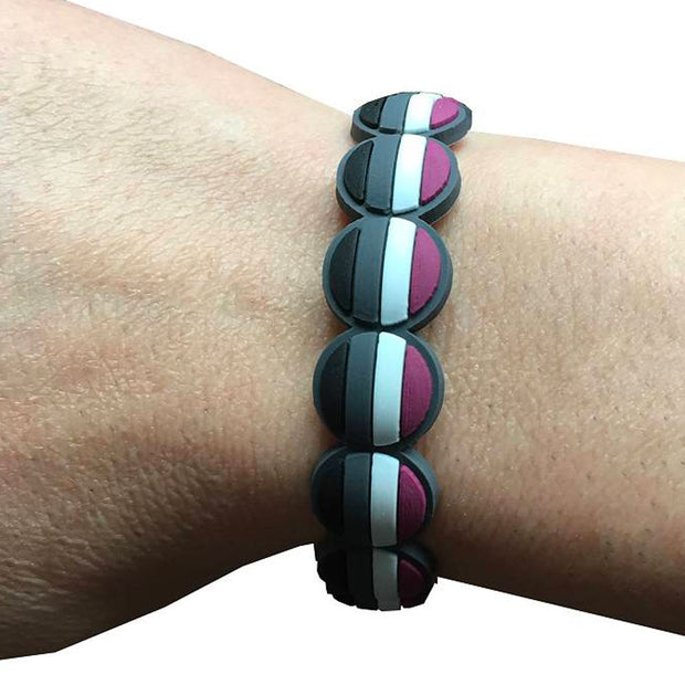 Asexual Flag Colours Adjustable Silicone Bracelet