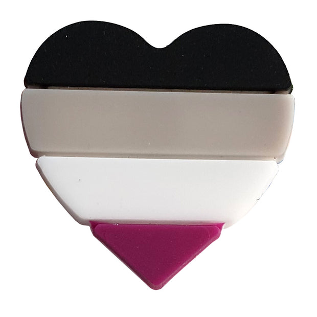 Asexual Flag Silicone Heart Pin Badge