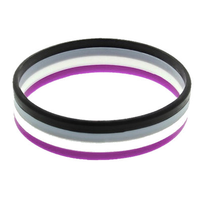 Asexual Flag Colours Silicone Wristband Large
