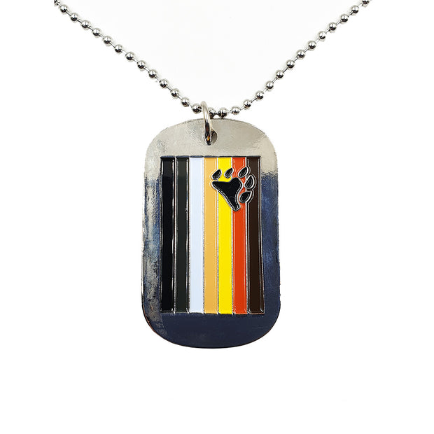 Bear Flag Stainless Steel Dog Tag Necklace