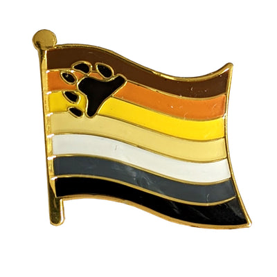 Bear Pride Flag Gold Enamel Waving Flag Pin Badge