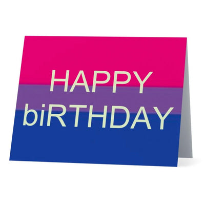 Flag Card Happy Birthday Bisexual Pride Flag - Greetings Card
