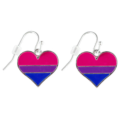 Bisexual Flag Silver Plated Heart Earrings