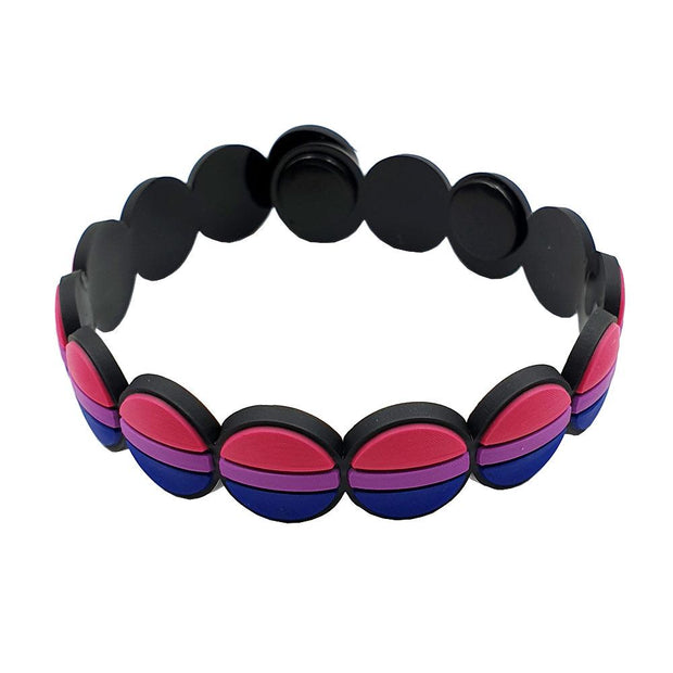 Bisexual Flag Colours Adjustable Silicone Bracelet