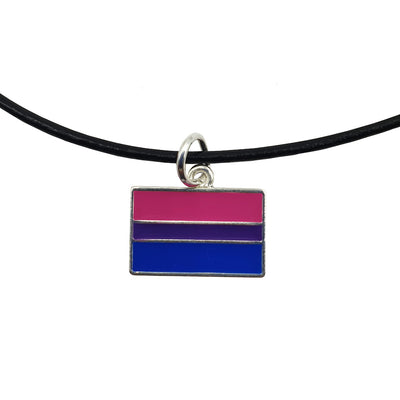 Bisexual Flag Silver Plated Rectangle Charm Necklace