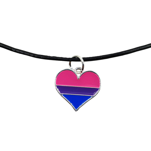 Bisexual Flag Silver Plated Heart Charm Necklace